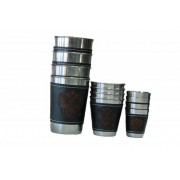 Набор из 4 стаканов с кожаными вставками средний в кожаном чехле